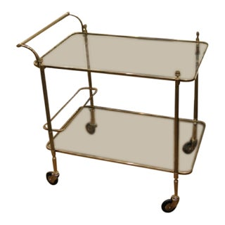 Maison Bagues Brass Rolling Cart With Bottle Holder For Sale