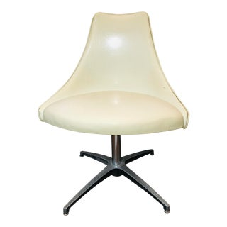 Vintage Mid Century Cream Swivel Chair For Sale