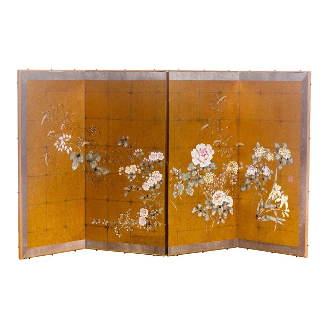 "Lawrence & Scott Japanese Style ""Summer Garden"" Four-Panel Gold Foil Original Painting Hanging Screen For Sale"