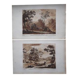 """Antique 18th Century Sepia Mezzotints-Claude Lorrain-""""Liber Veritatis"""" Pastoral Scenes-A Pair For Sale"""