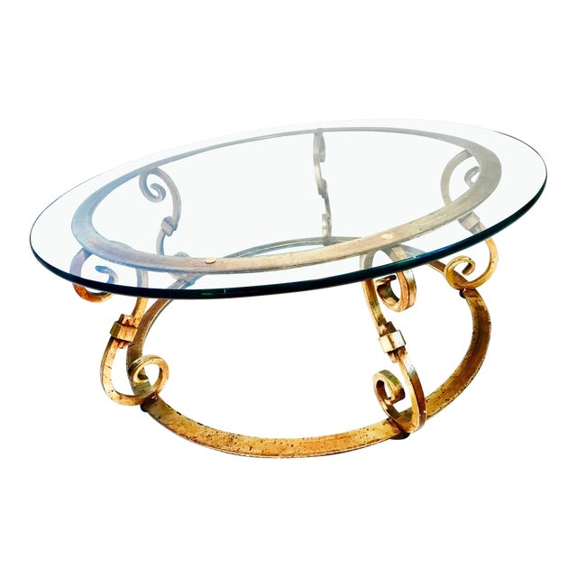 Arturo Pani Style Gold Gilt Round Glass Coffee Cocktail Table For Sale