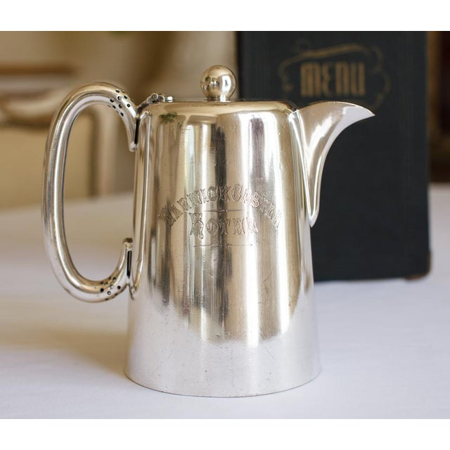 Antique Sheffield Warwick Castle Hotel Uk Coffee Pot - Image 2 of 8