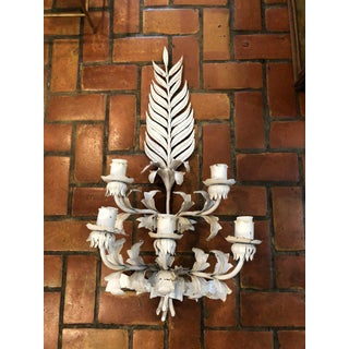 Large White Hollywood Regency Iron Wall Sconce Preview