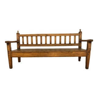 Antique Hand Made Wood Bench or Sofa - Includes Custom Cushion For Sale