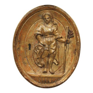 18th century giltwood bas relief carving For Sale