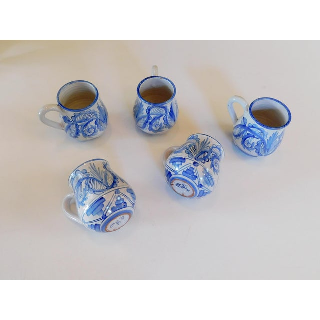 English Hand Made Rustic Blue and White Studio Mugs - Set of 5 For Sale - Image 3 of 9