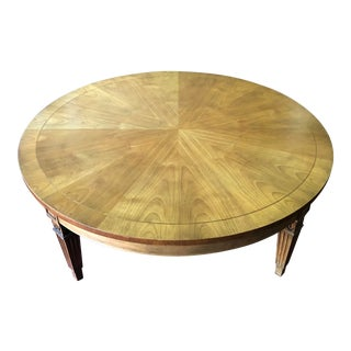 Baker Round Walnut Sunburst Coffee Table For Sale