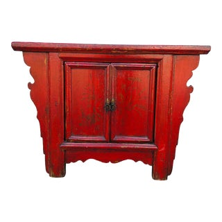 Vintage Red Chinese Butterfly Cabinet For Sale