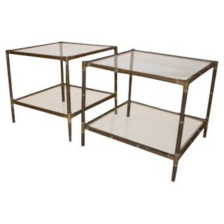 Mid Century Modern Argentine Pair of Bamboo Style Brass & Glass Side Tables