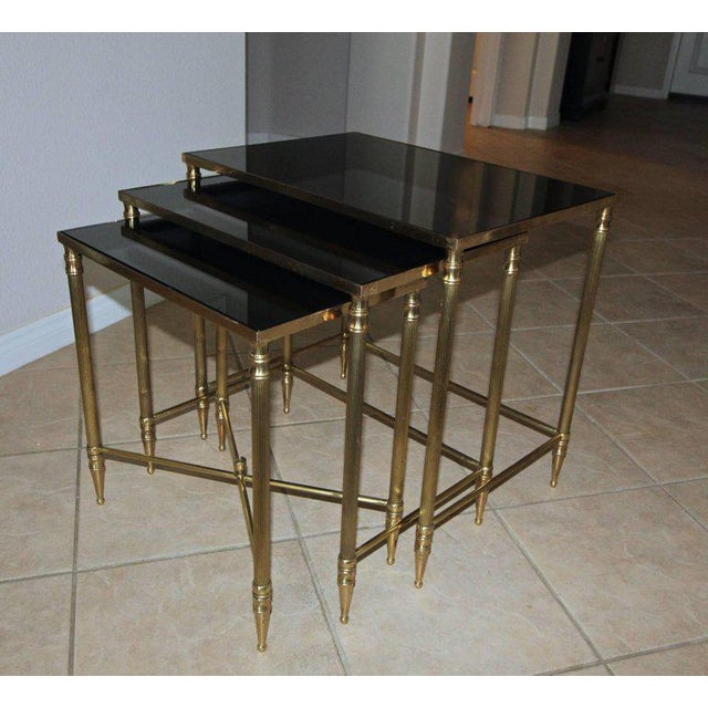 French Bagues Style Brass Nesting Tables - Set of 3 For Sale - Image 12 of 13