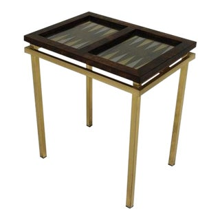 Burl Wood and Brass Backgammon Game Table For Sale