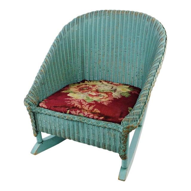 Lloyd Loom Antique Wicker Rocking Chair For Sale - Lloyd Loom Antique Wicker Rocking Chair Chairish