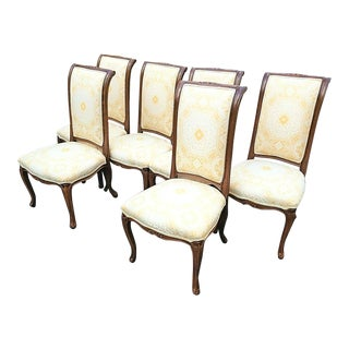 Venetian French Provincial Solid Wood Dining Chairs With Damask Upholstery - Set of 6 For Sale
