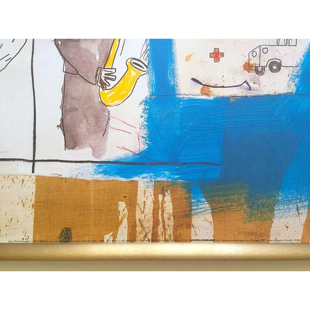"""Royal Blue Jean Michel Basquiat Rare Vintage 1997 Framed Lithograph Fine Art Print """" Worthy Constituents """" 1986 For Sale - Image 8 of 13"""