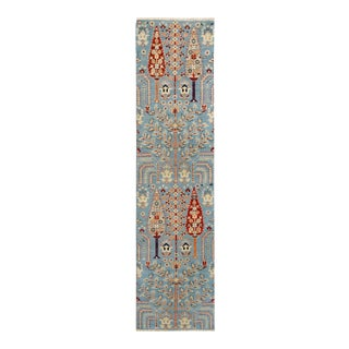 "Kurjean Garish Aja Blue Red Wool Rug - 2'6"" x 9'7"""