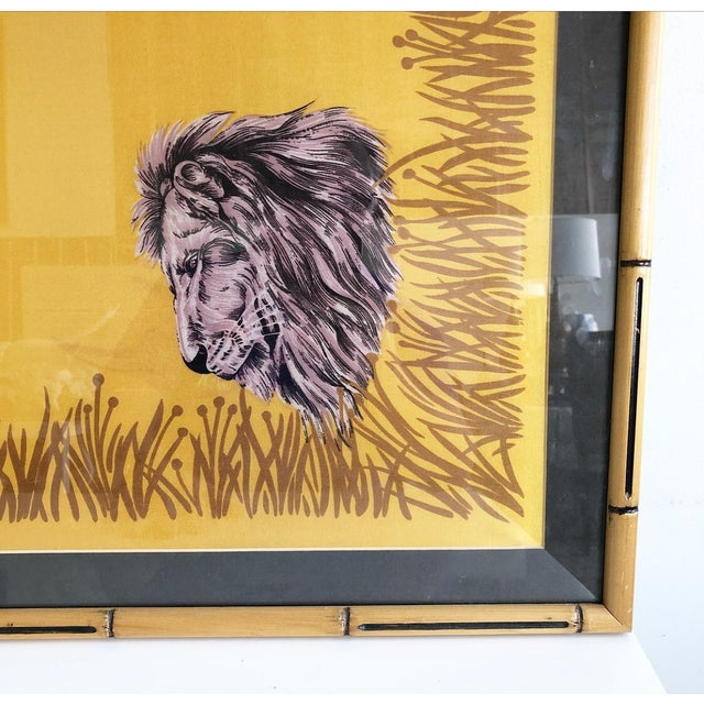 Asian Vintage Framed Silk Safari Style Scarf in Wooden Carved Faux Bamboo Frame For Sale - Image 3 of 10