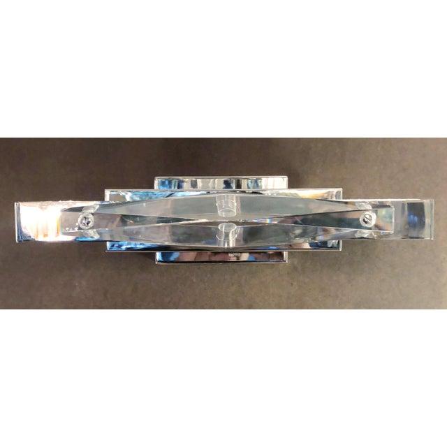 Fabio Ltd Crystal Chrome Sconces / Flush Mounts by Fabio Ltd - a Pair For Sale - Image 4 of 7