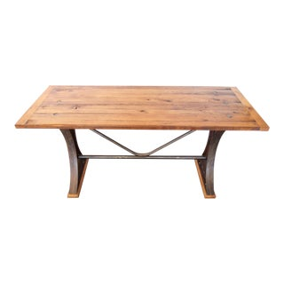 French Tall Oak & Iron Industrial Table