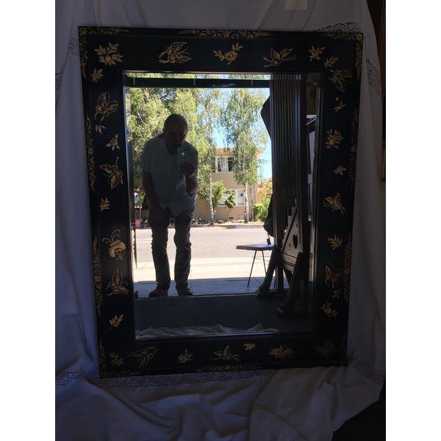 Beautiful large Chinoiserie Wall Mirror decorated with butterflies, Excellent condition. Black lacquer, dramatic. Glass is...