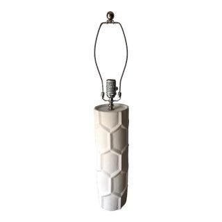 Jonathan Adler 'Honeycomb' White Plaster Lamp-Harp & Finial For Sale