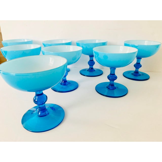 Mid-Century Modern Vintage Carlo Moretti Turquoise Cased Glass Coupes - Set of 8 For Sale - Image 3 of 11
