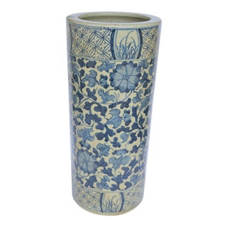 Chinoiserie Blue and White Botanical Umbrella Stand For Sale