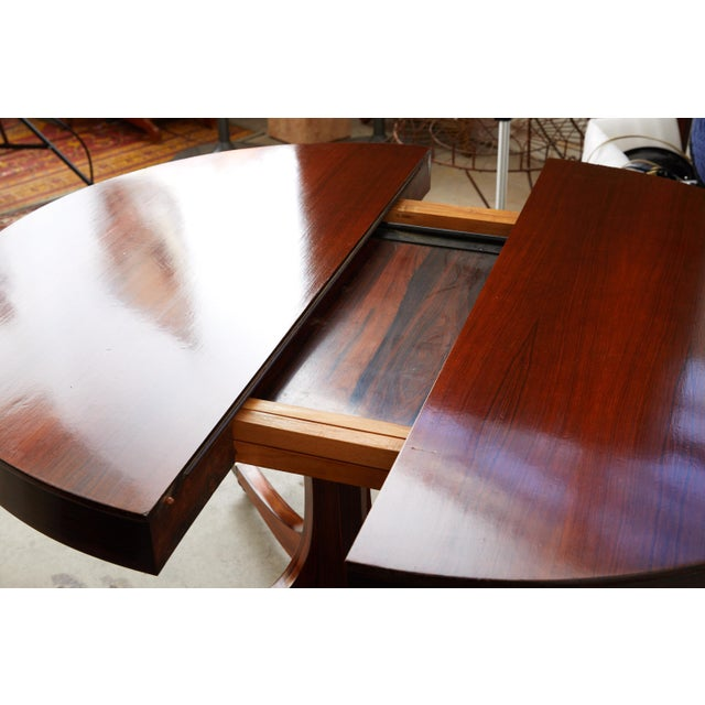 Midcentury Italian Convertible Dining Table With Self Containing Leaf For Sale - Image 4 of 9