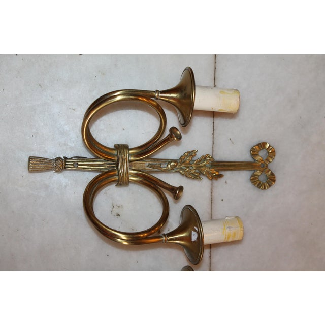 """Neoclassical 1950s Maison Bagues """"Curled Horns"""" Dore Bronze Sconces - a Pair For Sale - Image 3 of 13"""