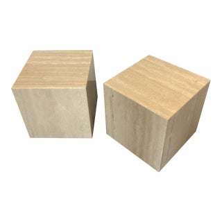 Italian Marble Cube Side Tables - a Pair For Sale