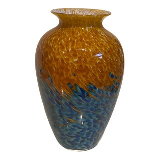 Late 20th Century Hand Blown Gold and Blue Amphora Art Glass Vase Singed W. Chris Lowry For Sale