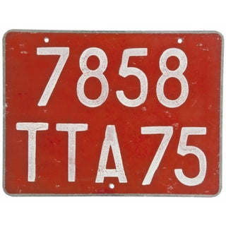 Red French Automobile License Plate