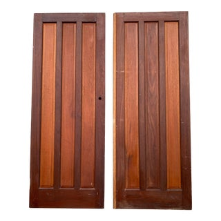 Mid Century Modern Solid French Doors - Set of 2 For Sale