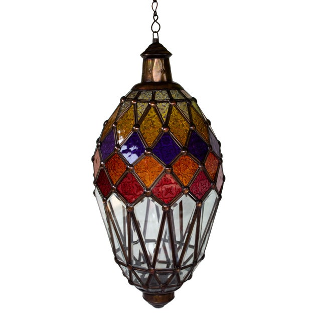 Hanging Glass Lantern With Kaleidoscope Accents For Sale