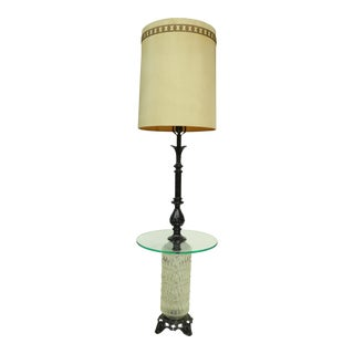 1970s Hollywood Regency e.f. Industries Wrought Iron and Glass Floor Lamp/Side Table For Sale