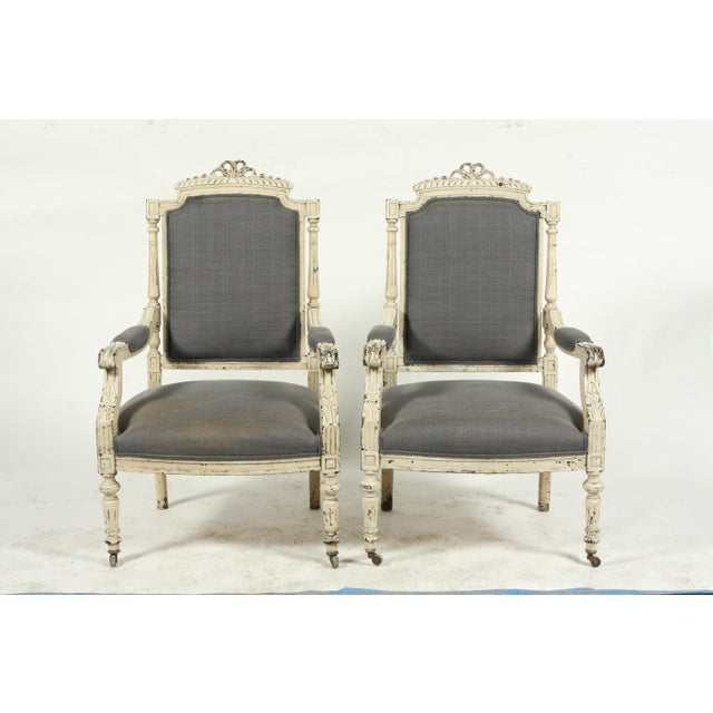 Late 19th-C. French Louis XVI-Style Armchairs, Pair For Sale - Image 10 of 13