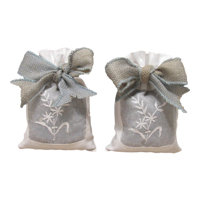 French Linen Sachets With Lavender, Pair For Sale
