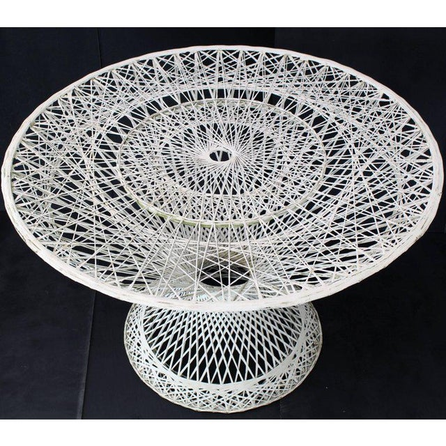 Spun Fiberglass Round Cone Shape Base Outdoor Dining Table Woodard For Sale In New York - Image 6 of 7