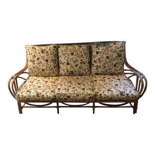 Vintage Mid Century Heywood Wakefield Bentwood 3 Cushion Sofa For Sale