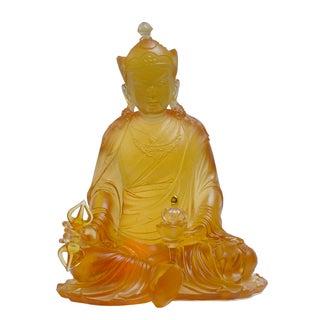 Liuli Glass Tibetan Guru Rinpoche Buddha Statue