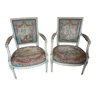 Louis XVI Epoch Fauteuils, Pair For Sale