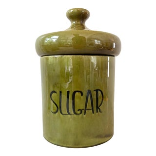 Vintage 1970s Ceramic Canister, Avocado Green For Sale