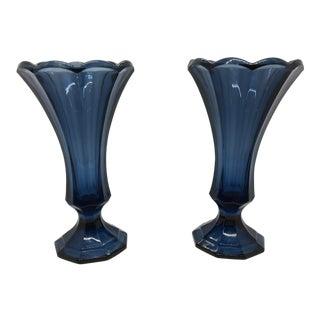 Vintage 1980s Blue Fostoria Glass Vases - a Pair For Sale
