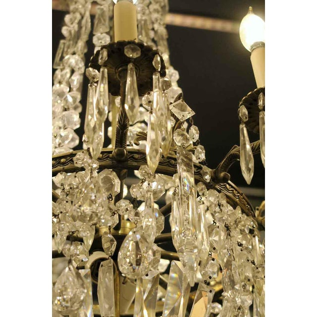 Antique 10 Arm Crystal Chandelier For Sale - Image 11 of 12