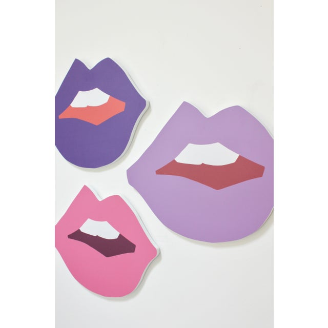 Limited edition of large Kiss Me cutout print in Grape, Lilac, and Berry on PVC substrate. Key hole on back, ready to...