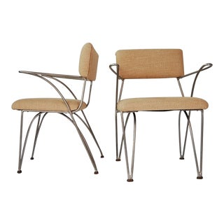 Pair of Modernist Chairs in Aluminum and Bronze For Sale