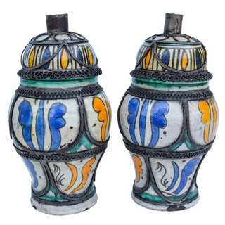 Ornate Arabesque & Filigree Lidded Jars, S/2 For Sale