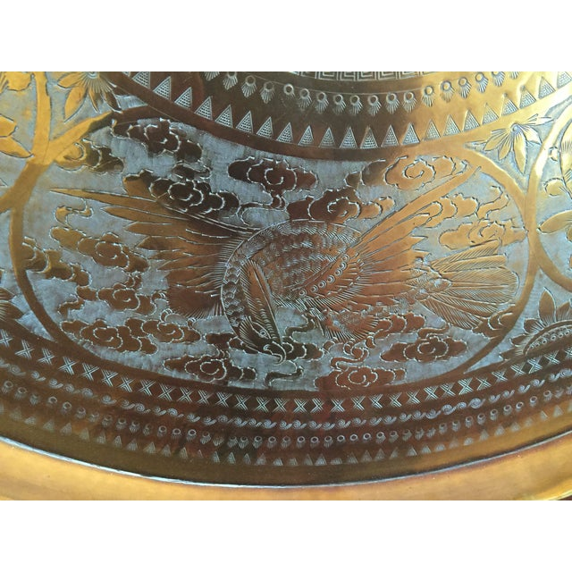 MCM Oriental Brass Tray Table - Image 6 of 10