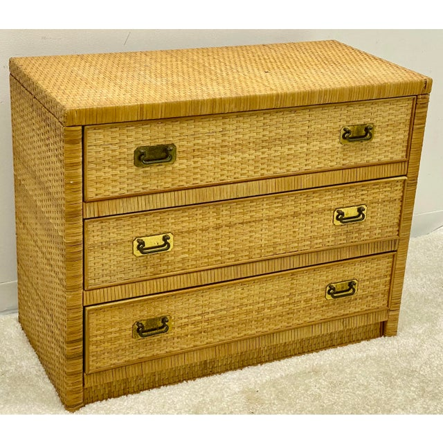 Dixie Furniture Co. Bilecky Brothers Style Wicker Wrapped Chest For Sale - Image 4 of 6