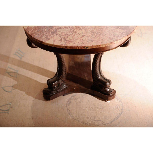 Italian Dolphin Oval Table With Rose Marble Top For Sale - Image 9 of 11
