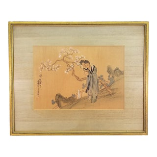 Vintage Mid-Century Two Women Chinese Silk Painting For Sale